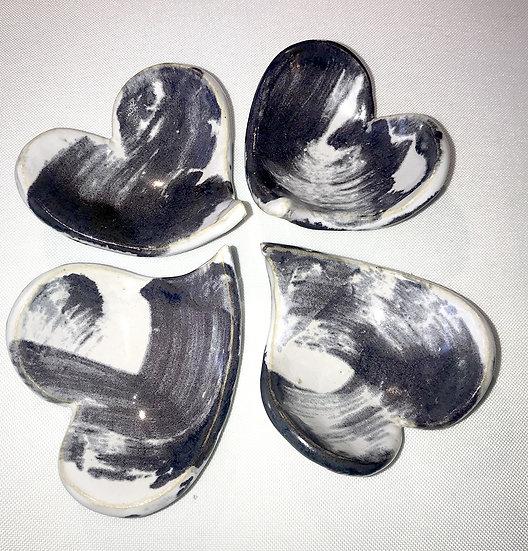 """Lot de 4 cœurs """"gris"""""""