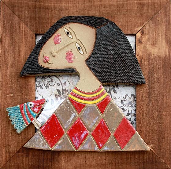 Cadre bois et céramique - 32