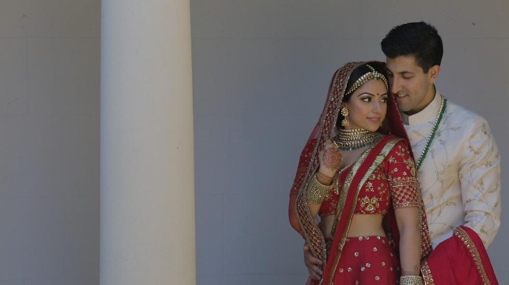 Hindu bride and groom Oatlands Park Hotel