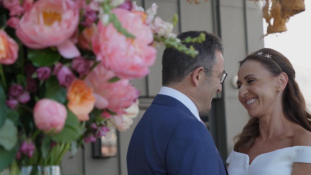 Bride and Groom London Roof-top wedding