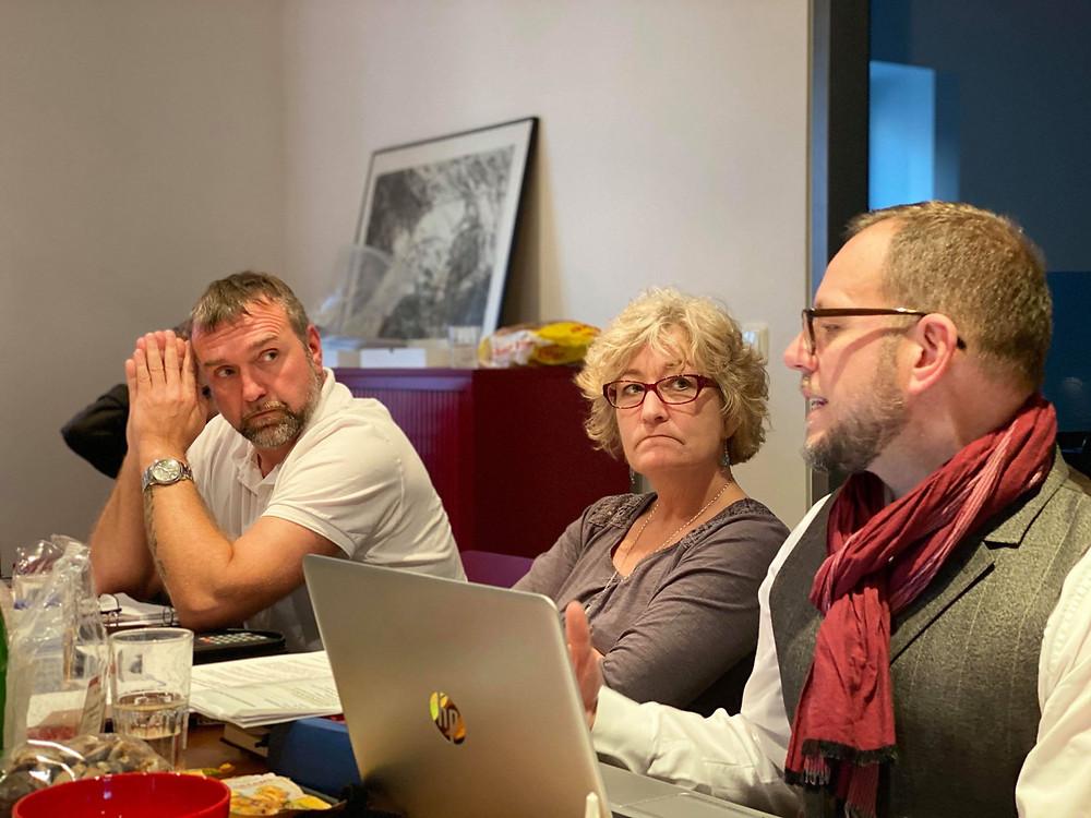 Neues Gespann der Vorstandschaft, v. l. : Mario Kelter neu gewählter 2. Vorstand, Iris Pfister, Schatzmeister und Gunter Huhn, 1. Vorstand