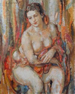 Portrait de Nue assise, huile sur toile,81x 65, 2009