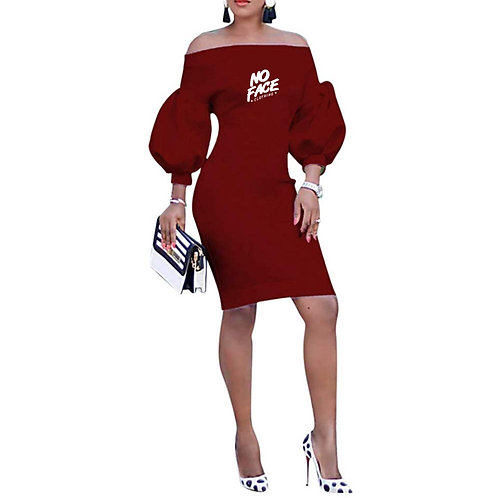 Off Shoulder Puffed Sleeve Cocktail Dress