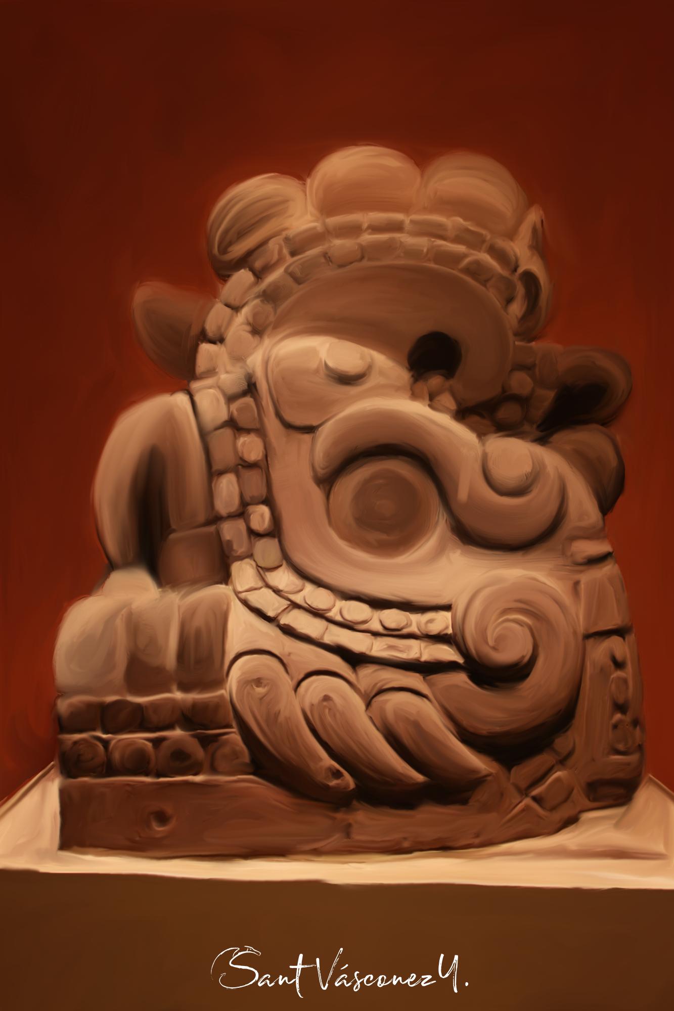 Máscara de piedra al óleo