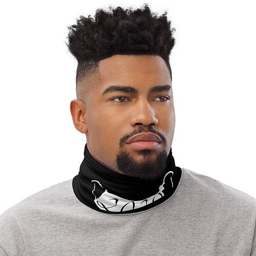 white 2020 mask on a black neck gaiter front