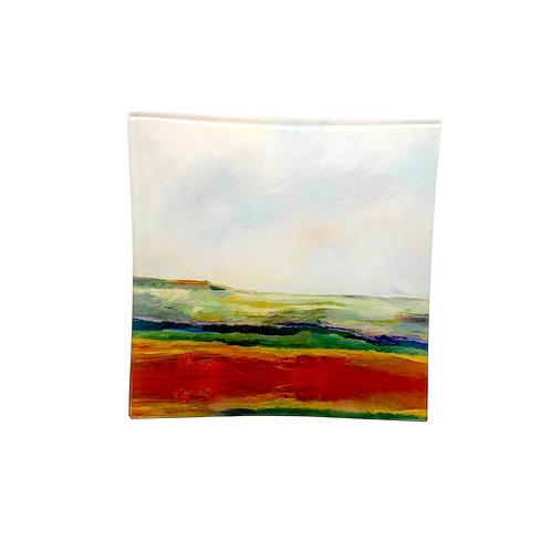 "Small Square Glass Tray ""Rainbow Landscape"""
