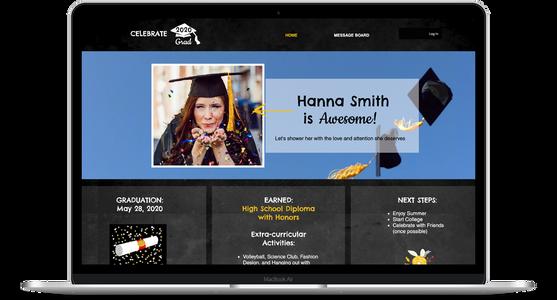 Celebrate 2020 Graduation website + custom template
