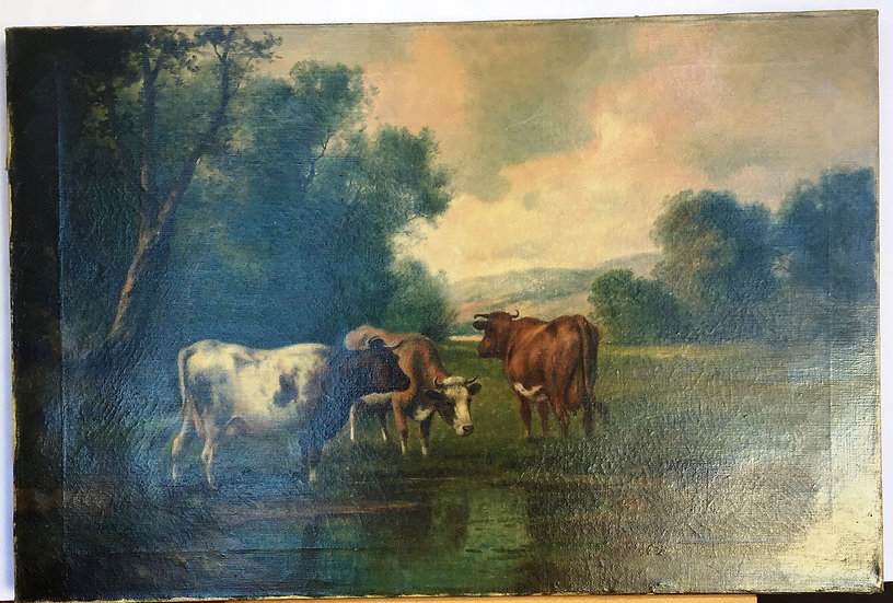 Oil on canvas: 'Grazing cows'