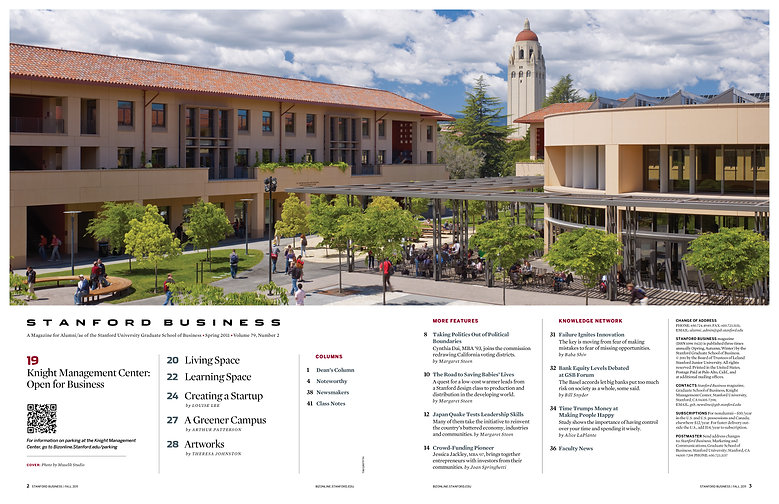 Steven Powell Design. Stanford Business TOC photo edit + design.