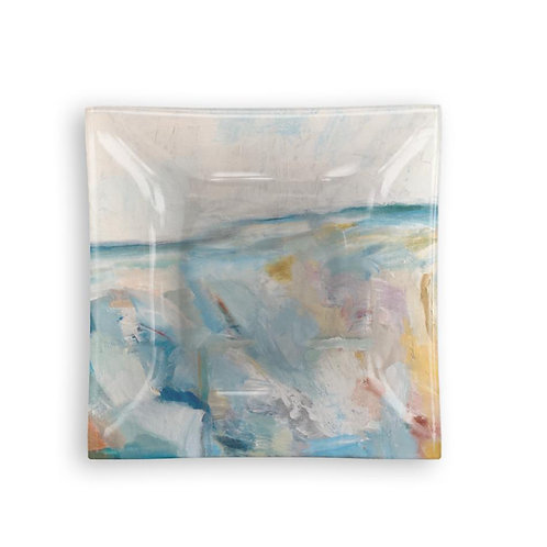 """Small Square Glass Tray """"A Day at the Beach"""""""