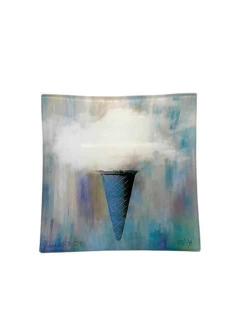 """Small Square Glass Tray """"Ice Cream Cone"""""""