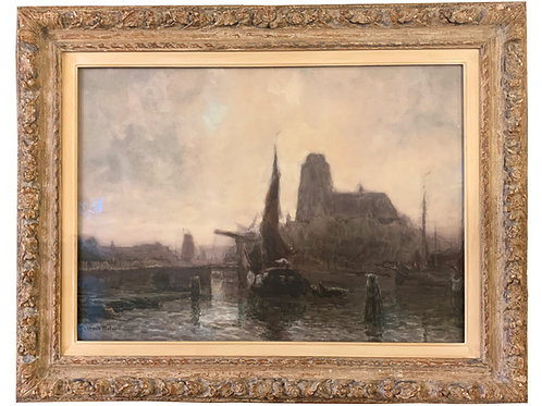 Signed Watercolor Dutch Canal Scene