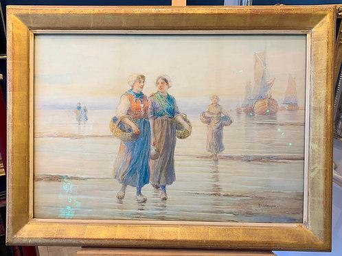 Signed Watercolor of Dutch Beach Scene