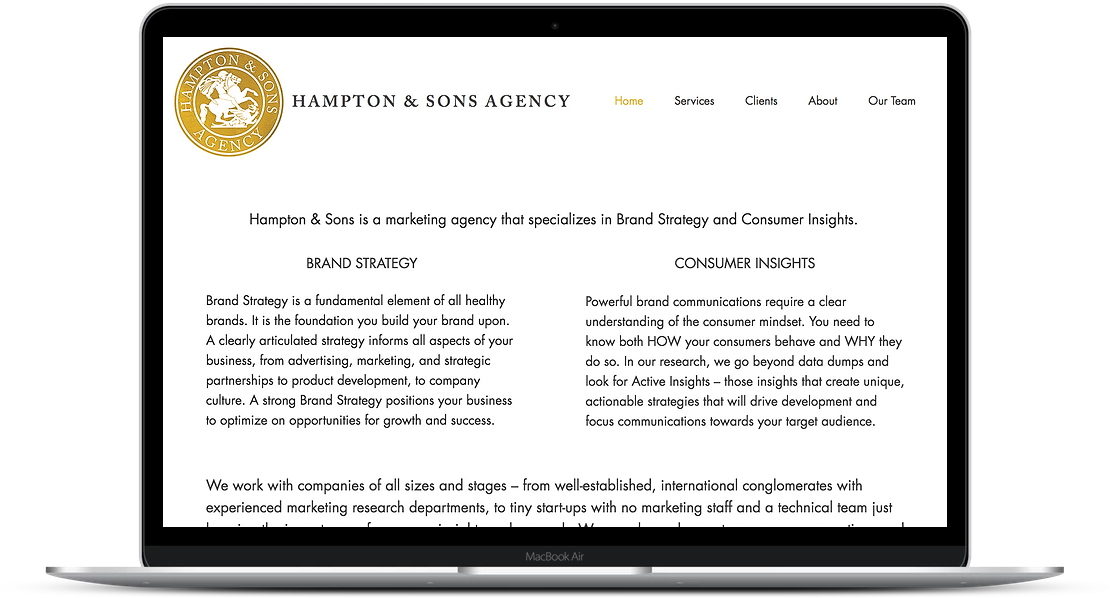 Hampton & Sons Agency - Brand Strategy Website