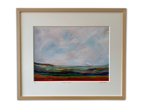Rainbow Landscape Print (maple frame)