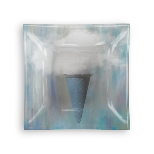 "Small Square Glass Tray ""Ice Cream Cone"""