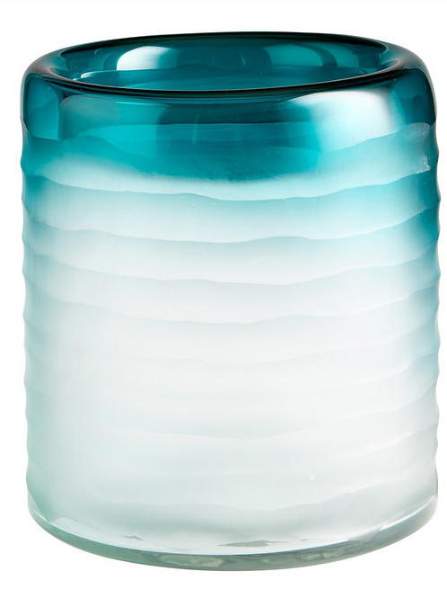 Seafoam Ombre Glass Ribbed Vase