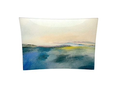 "Rectangular Glass Tray ""Blushing Horizon"""