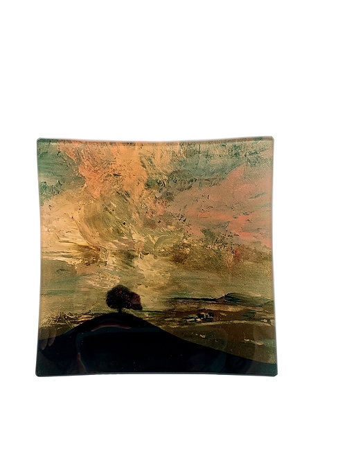 """Small Square Glass Tray """"Tree on the Hill"""""""