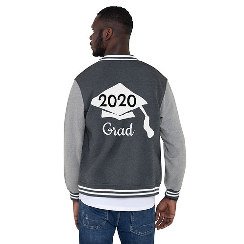 white 2020 hat on gray jacket