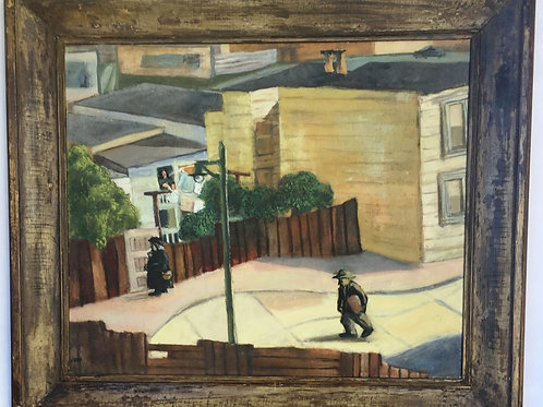 Oil on canvas: 'San Francisco, Street Scene
