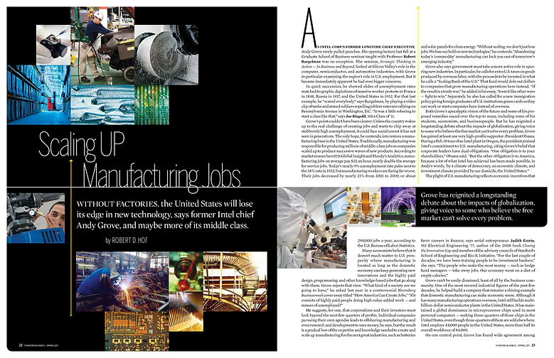 Steven Powell Design. Stanford Business feature layout. Stock photo research + page design.