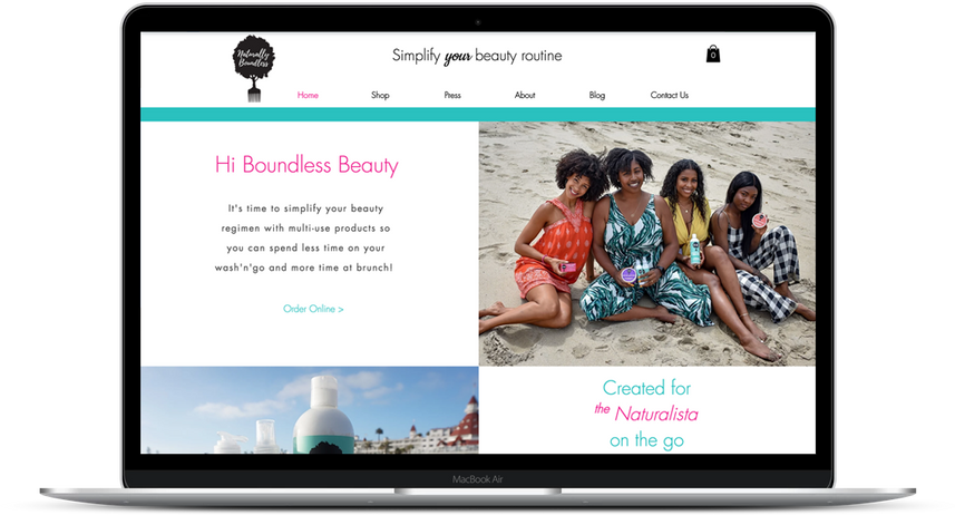 Boundless Beauty e-commerce organic hair products