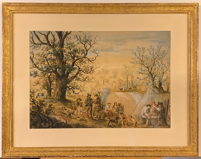 Country landscape with Tinkers, Signed Watercolor