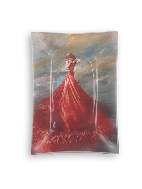 "Rectangular Glass Tray ""Red Dress"""