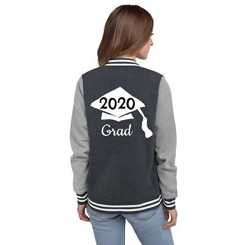 white 2020 hat on gray jacket