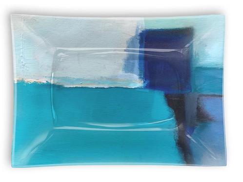 "Rectangular Glass Tray ""Cerulean Segments"""