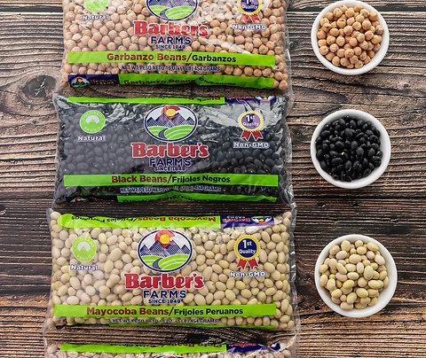 Pinto, Mayocoba and black Colorado Proud beans