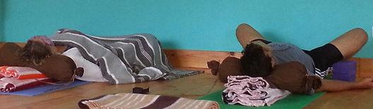 Restorative Yoga using the wall