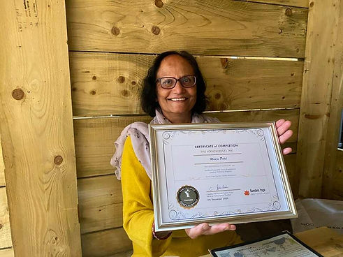We believe it's never too late to do your teacher training. Proud of Manju who passed her teacher trainig.