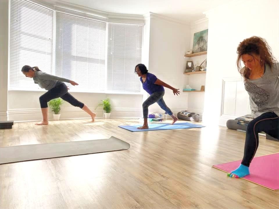 Yoga Teacher Trainees practising vinyasa yoga