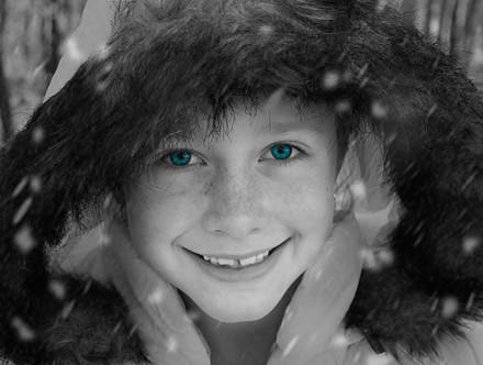 Blue eyed snow baby
