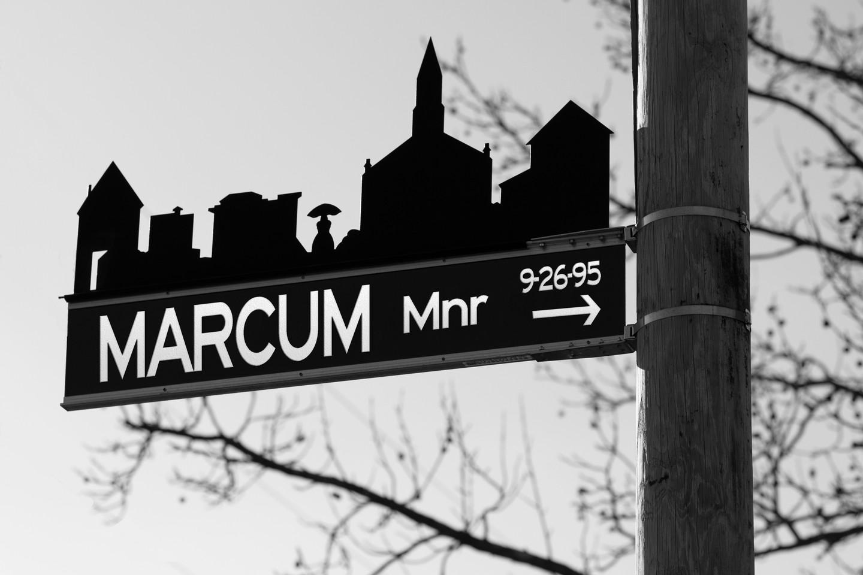 Custom Black & White Town street sign Shutter Me Happy