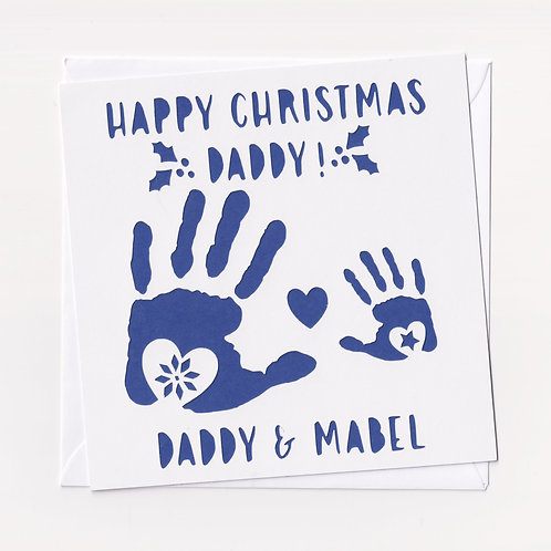 Personalised Papercut Daddy Handprint Christmas Card