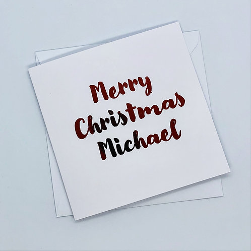 Personalised Red Foil Christmas Name Card