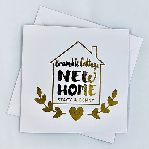 "Personalised Gold Foil New Home Card ""House Name"""