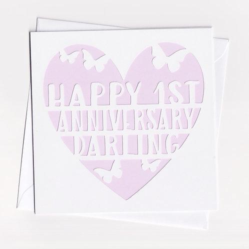 Personalised Papercut Heart Anniversary Card