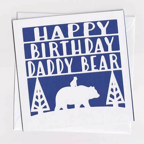 Papercut Daddy Bear Dad Birthday Card