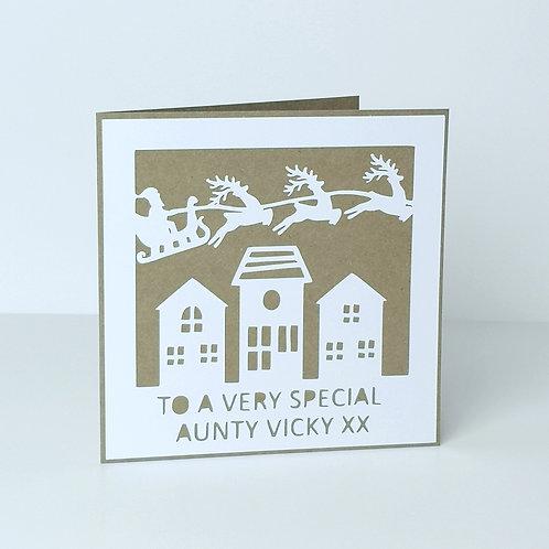 Personalised Papercut Christmas TownCard