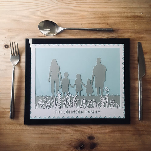 Personalised Family Silhouette Placemat Papercut