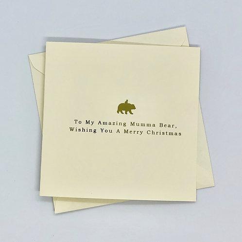 Gold Foil Christmas Mumma Bear Card