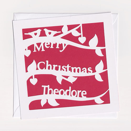 Personalised Papercut Branch Christmas Card