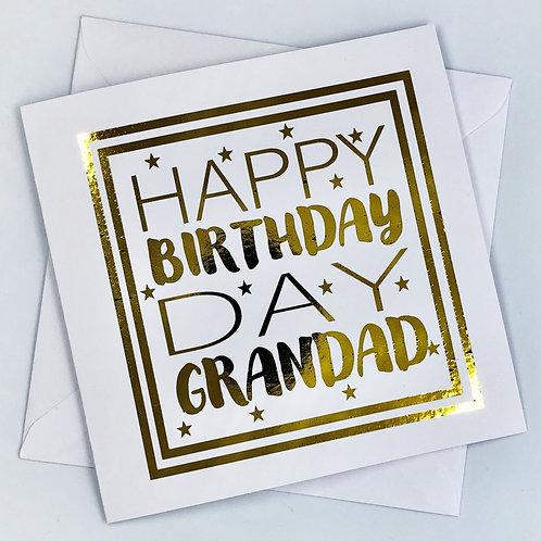 "Gold Foil Grandad Birthday Card "" Happy Birthday Grandad  """