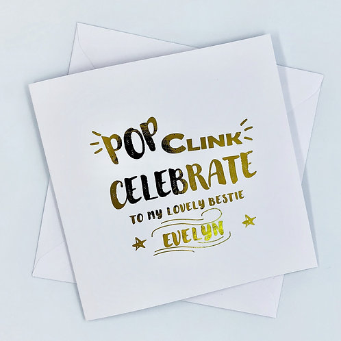 "Personalised ""Pop Birthday"" Gold Foil Card"