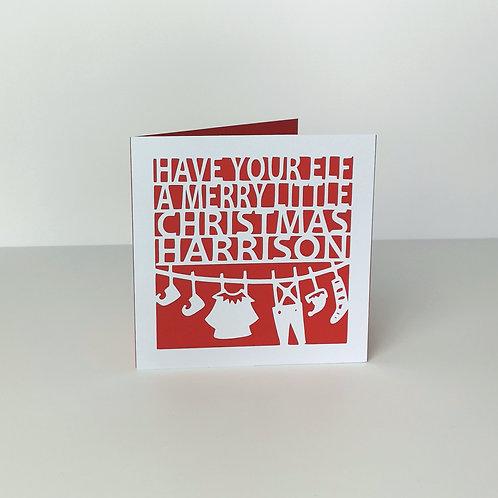 Personalised Papercut Christmas Washing Line Card