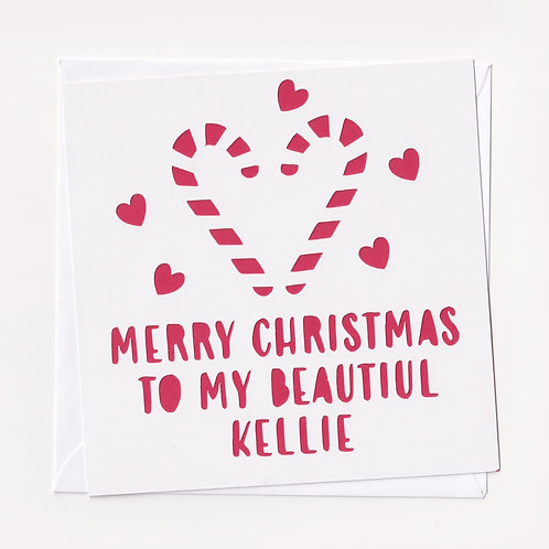 Personalised Papercut Christmas Candy Cane Card